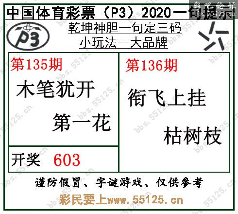 [彩吧]排列三20136期乾坤一句定三码字图谜
