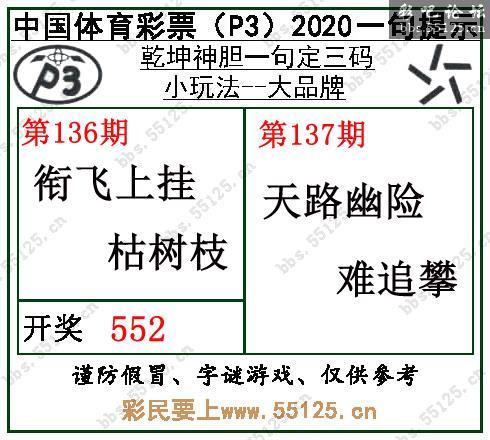 [彩吧]排列三20137期乾坤一句定三码字图谜